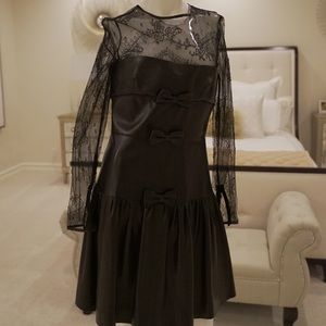 Valentino black leather/lace dress NWOT